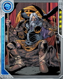 Father of Thor and adoptive father of Loki, one-eyed Odin reigned over Asgard for ages, yielding the throne to his son when he apparently perished in battle with the fire demon Surtur, who killed Odin's brothers centuries before.