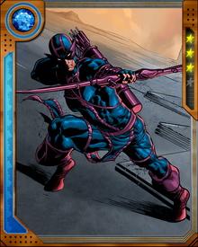 In addition to his archery skills, Hawkeye is also an elite swordsman and acrobat. Without superpowers, he exists at the very edge of what it possible for the human body.
