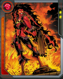 This new form is a cruel joke on Betty, since she looks just like her father, General Thunderbolt Ross, who has become Red Hulk. After initially fighting against the Avengers and X-Men, she has now come around and joined their side... at least for now. She sometimes uses a sai and a gun, but is just as deadly with her fists.