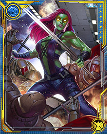 Gamora then found herself once again fighting on the side of the heroes, but still at odds with some of them. Thor gained one of the Power Gems and began lashing out at Earth's heroes. Proving her skills in battle, she fought a cosmic powered Thor to a standstill.