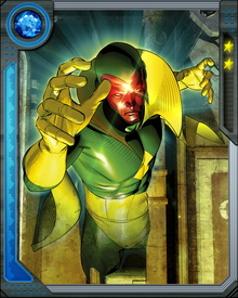 Vision can control his density to become hard like a diamond, light enough for flight, or even intangible allowing him to phase through walls.
