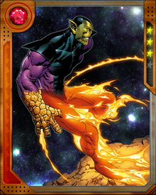 Skrull warrior Kl'rt was chosen to become the Skrulls' first superpowered soldier after their defeat at the hands of the Fantastic Four. He gained all the powers of the Four, which were enhanced by an interstellar energy beam. Super-Skrull also retained the native Skrull ability to change shape.
