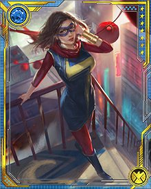 The most recent bearer of the name of Ms. Marvel is Kamala Khan. While out against her parent's wishes, she was exposed to the Terrigen Mists, revealing her Inhuman lineage. While undergoing Terrigenesis, she wished to become Ms. Marvel, and her wish was granted.