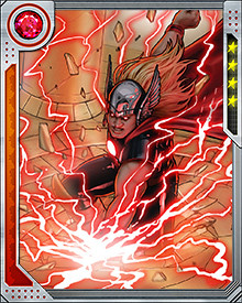 Ragnarok was everything that Thor had been. He had all the strength and power that Thor had. He even had his own Mjolnir hammer. Although his hammer was a construct created from the genius of Richards and Stark, it was still able to control lightning. Remote control circuitry in the hammer and in the head of Ragnarok allowed him to throw and guide the hammer, much like the real Thor had been able to do.