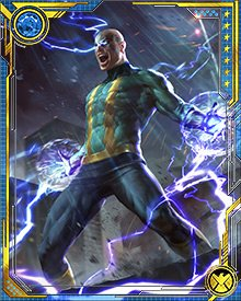 The more electrical energy Electro contains, the stronger and faster his physical body becomes. He has shown the ability to use electromagnetic currents to fly, ionize metals, and even transmit his physical body through electrical current.
