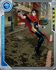 Billy Kaplan loved the Avengers as a child, imagining himself a superhero to lessen the pain of being bullied. The Scarlet Witch granted him powers over chaos magic similar to hers, and was later revealed to be his mother, who created him from a fragment of the demon Mephisto's soul. Once in possession of his powers, he joined the Young Avengers.