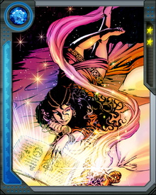 A gifted sorceress in her own right, Topaz can also by her presence amplify the powers of other users of arcane power. She excels at the control of emotions and telepathy, as well as telekinesis.