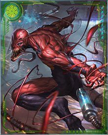 Superior Carnage has all the bloodthirsty zeal of the original Carnage, put together with the brains and guile of Dr. Malus. He's also given weapons, but like all symbiotes, Superior Carnage prefers slashing foes the old-fashioned way.