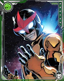 The helmet of the Nova Corps lets Sam survive in space, and also has some other useful functions. It's a universal translator, gives him the ability to fly at incredible speeds, and lets him control the powerful Nova Force.