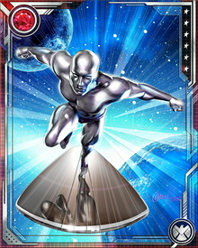 Infused with the Power Cosmic, Silver Surfer is nearly invulnerable.  With incredible strength and stamina, Silver Surfer can traverse universes faster than the speed of light.