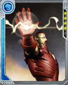 Repulsor rays, the main beam weapon, are equipped in the armor's gauntlet. The power differs depending on the armor Stark wears.