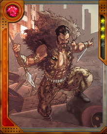 To prove that he is the greatest hunter in the world, Sergei Kravinoff chose his next game, Spider-Man.  Kraven usually fights his prey with his bare hands but is an expert with guns and edged weapons.