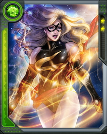 Ms. Marvel has superhuman strength, speed,  ability to fly and can blast and absorb energy.