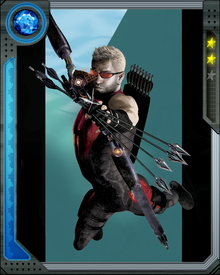 "Clint Barton was trained in the circus by performers Swordsman and Trickshot. During his time as a performer he was billed as ""The Amazing Hawkeye."""