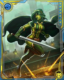 Gamora led a counterstrike force of the United Front against the Annihilation Wave. The Phalanx's hive mind assimilated her, and even though Nova freed her, she suffered from the assimilation's after effects for some time.