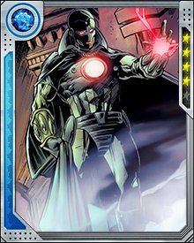 The Super-Adaptoid is an artificial being created by scientists at Advanced Idea Mechanics—better known as AIM. It was designed to be able to copy and use the powers of the super heroes it fought. Highly intelligent but lacking creativity, the Super-Adaptoid was originally empowered by a shard of a Cosmic Cube. Later, after the shard was removed, it maintained its power.