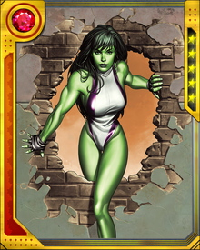 She-Hulk is registered under the Superhuman Registration Act, and is a supporter of Tony Stark. However, as an attorney, she advised individuals on both sides of the Civil War. She agreed to file suit against Peter Parker for fraud on behalf of her father-in-law, J. Jonah Jameson. Her intention is to keep the suit tied up in the courts indefinitely.