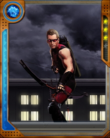 Hawkeye's most famous ability is to hurl or fire projectiles with extreme speed and accuracy. He is also able to fire or throw objects against walls or other obstacles, resulting in complicated rebounding situations.