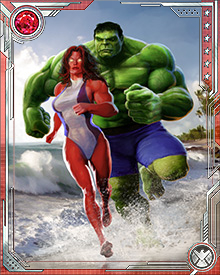 While they have frequently been at odds in the past, Hulk and Red She-Hulk share a history that goes beyond a mere super heroic team-up. As Bruce and Betty Banner, they are husband and wife.