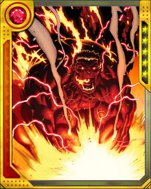 Because Thunderbolt Ross once pursued and persecuted the Hulk, his new form as Red Hulk makes him hate himself... but this hate in turn makes him even stronger. He is strong enough to jump from the Earth's surface into orbit, and nearly invulnerable to physical harm. The only way to defeat Red Hulk is through his mind.