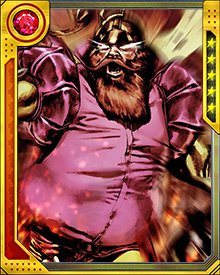 Volstagg wields a magical, gleaming sword called the Bright Blade of Wondrous Victory.