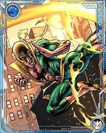 Although he prefers to fight bare-handed, with only his chi empowering him, sometimes Iron Fist will take up a weapon. One such occasion was the war against Cul the Serpent, when Iron Fist was one of the heroes who wielded Uru weaponry against the Worthy.